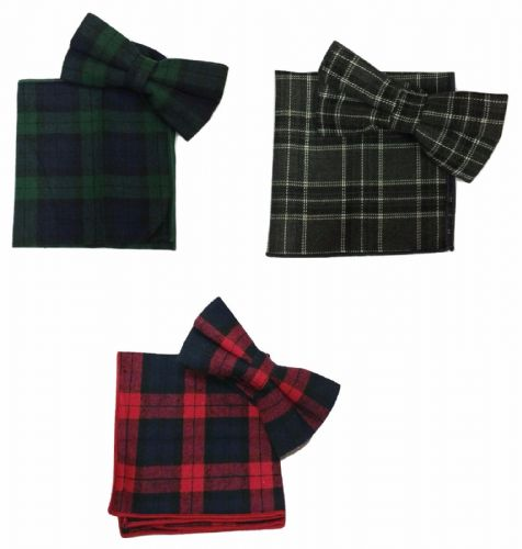 2 Pcs Set Tartan Bow Tie + Pocket Square Hanky Handkerchief Cotton